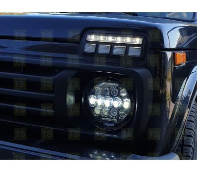 Светодиодные фары в черном корпусе 130W, 7 дюймов, 13 диодов и 2 полосы, ДХО на ВАЗ 2101, 2102, Лада 4х4 (Нива), УАЗ, Jeep Wrangler