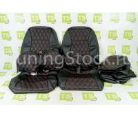 Обивка сидений (не чехлы) экокожа гладкая с цветной строчкой Ромб/Квадрат на ВАЗ 2111, 2112