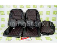 Обивка сидений (не чехлы) экокожа гладкая с цветной строчкой Ромб/Квадрат на Приора хэтчбек, универсал
