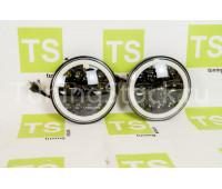 Светодиодные фары 90W, 7 дюймов черные с диодным кольцом повторителя поворота и ДХО на ВАЗ 2101, 2102, Лада 4х4 (Нива)