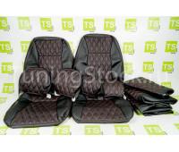 Обивка сидений (не чехлы) экокожа (центр с перфорацией) с цветной строчкой Ромб/Квадрат на ВАЗ 2112, 2111