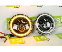 Светодиодные фары 80W, 7 дюймов черные с кольцом повторителя поворота и ДХО на ВАЗ 2101, 2102, Лада 4х4 (Нива)