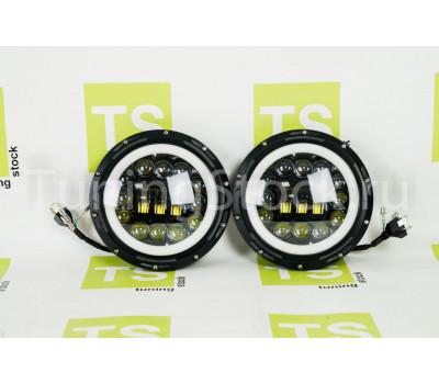 Светодиодные фары в черном корпусе 90W, 7 дюймов с кольцом повторителя поворота и ДХО на ВАЗ 2101, 2102, Лада 4х4 (Нива)