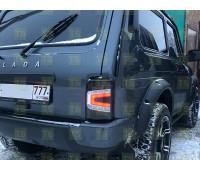 Светодиодные черные задние фонари Тюн-Авто с бегающим поворотником на Нива 21213, 21214, 2131, Урбан до 2020 г.в