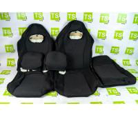 Обивка (не чехлы) сидений Recaro (черная ткань, центр Искринка) на ВАЗ 2108-21099, 2113-2115, 5-дверная Нива 2131