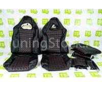 Обивка (не чехлы) сидений Recaro экокожа (центр с перфорацией) с цветной строчкой Ромб/Квадрат на ВАЗ 2108-21099, 2113-2115, 5-дверная Лада 4х4 (Нива) 2131