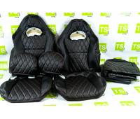 Обивка (не чехлы) сидений Recaro экокожа гладкая с цветной строчкой Ромб/Квадрат на ВАЗ 2108-21099, 2113-2115, 5-дверная Лада 4х4 (Нива) 2131