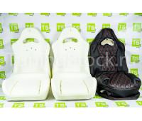 Комплект для сборки сидений Recaro экокожа (центр с перфорацией и цветной строчкой Ромб/Квадрат) на ВАЗ 2110, Приора седан